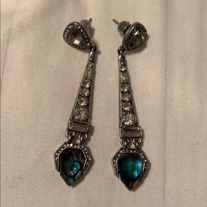 LIKE NEW Abalone drop earrings crystal pave stones